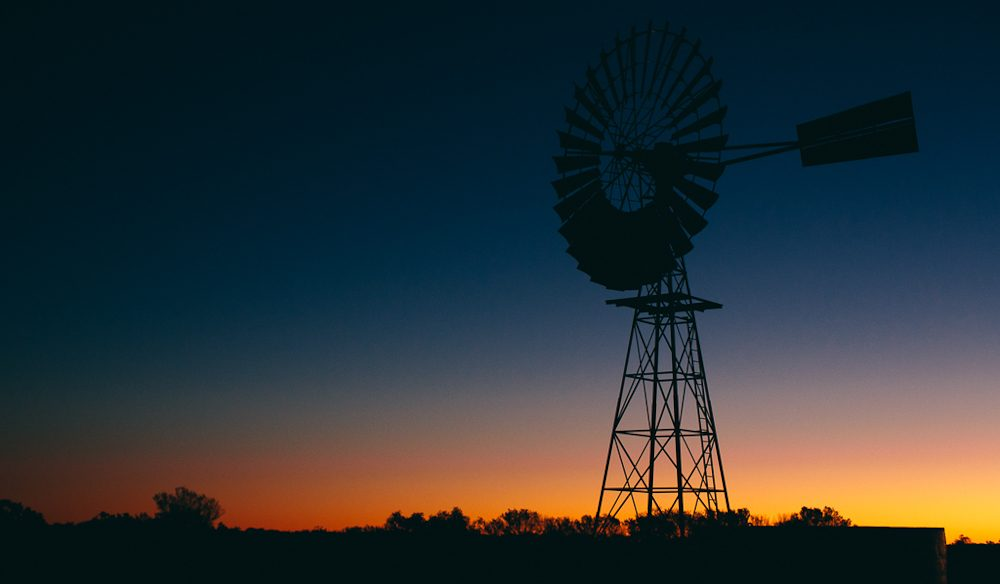 Outback windmill, Stuart Highway, Northern Territory