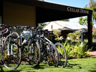 A wine tasting break on the Milawa Pedal to Produce route.