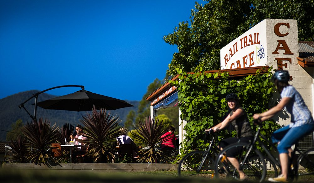 It's all about the cycling (and the gourmet pit stops) - on the Murray to Milawa Rail Trail.