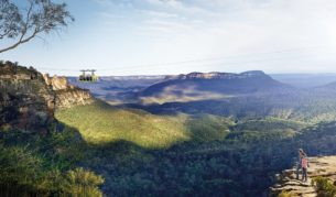 The Blue Mountains through the glass-floored Skyway.