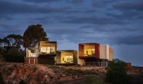 Perched on cliffs above the river, just out of Renmark, the architectural retreat serves up spectacular views.