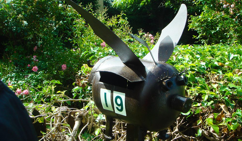 7. Deloraine, Tasmania. Pigs might fly on this letterbox.
