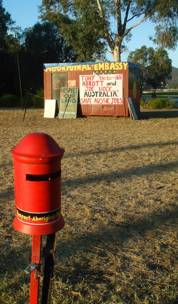 10. Canberra, ACT. This might just be the most important letterbox – outside the Aboriginal Embassy on the lawns opposite old Parliament House.