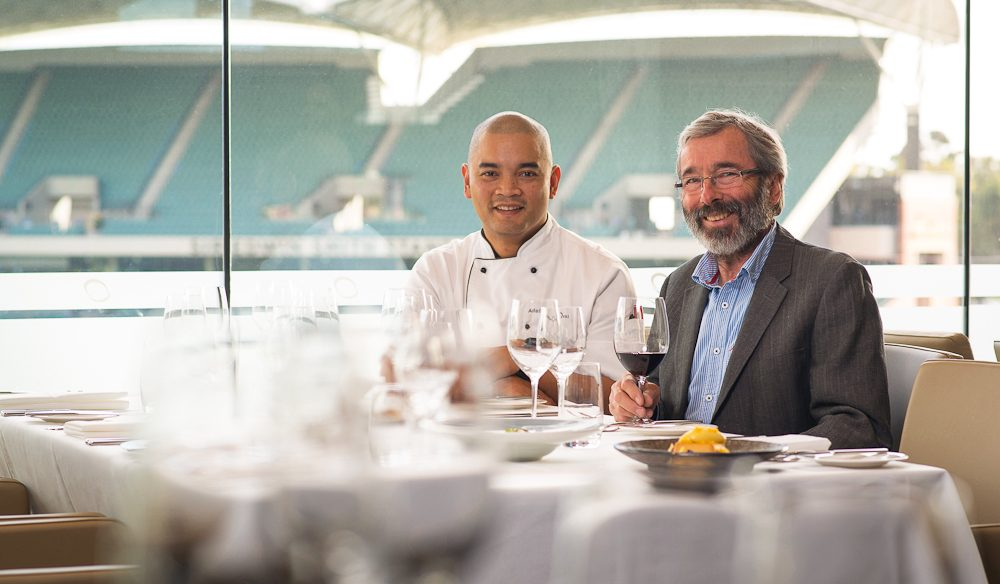 Hill of Grace (Adelaide Oval) head chef Dennis Leslie and winemaker Stephen Henschke.