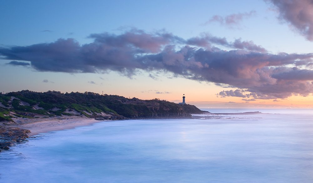 Norah Head (NSW Central Coast) glowing with dawn's soft pastel colours (photo: Daniel Hine).