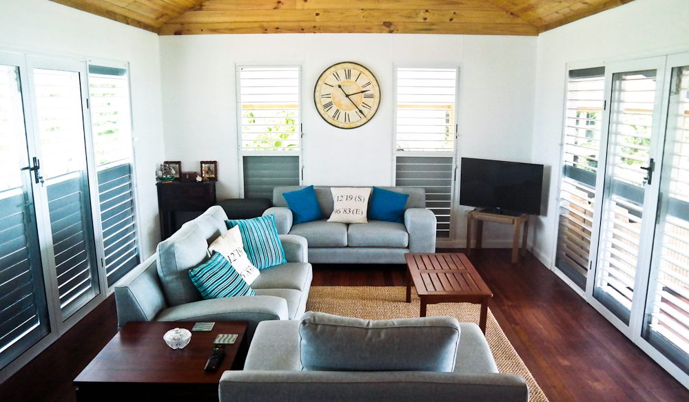 The modern living room of brand new B&B, ninetysixeast. Cocos Keeling Islands.
