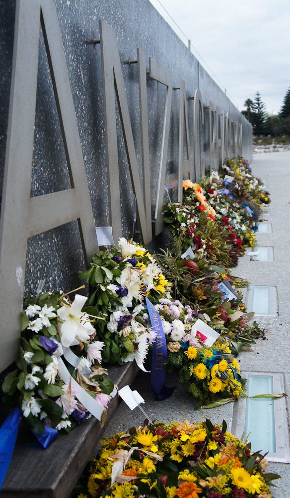 Wreaths at ANZAC Peace Park, Albany.