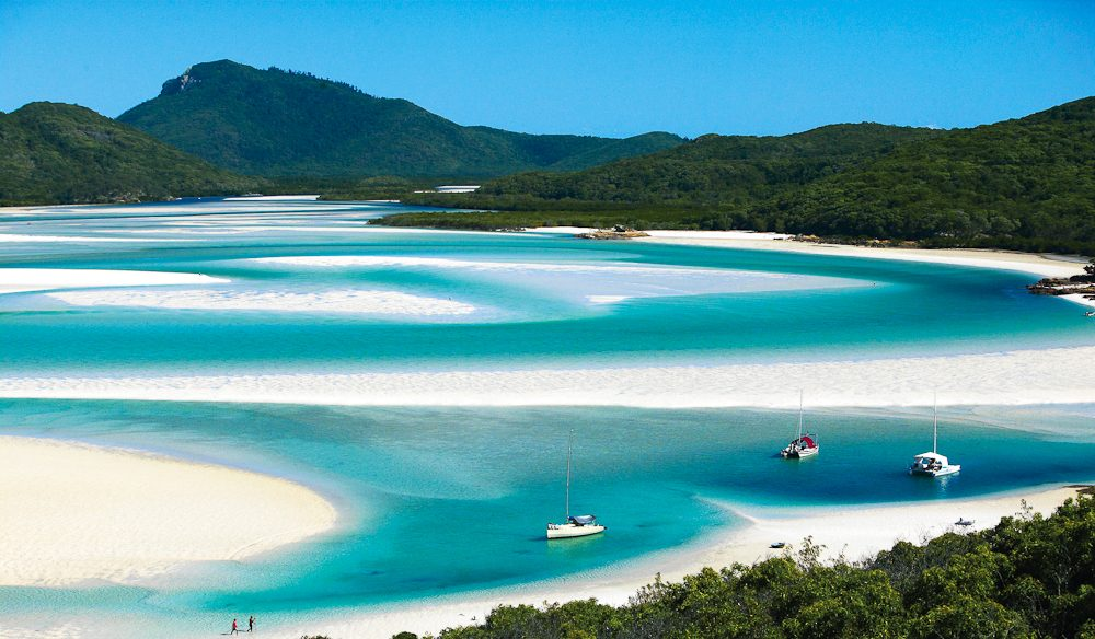 Number one in Australia (and maybe the world) Whitehaven Beach, Whitsunday Island.