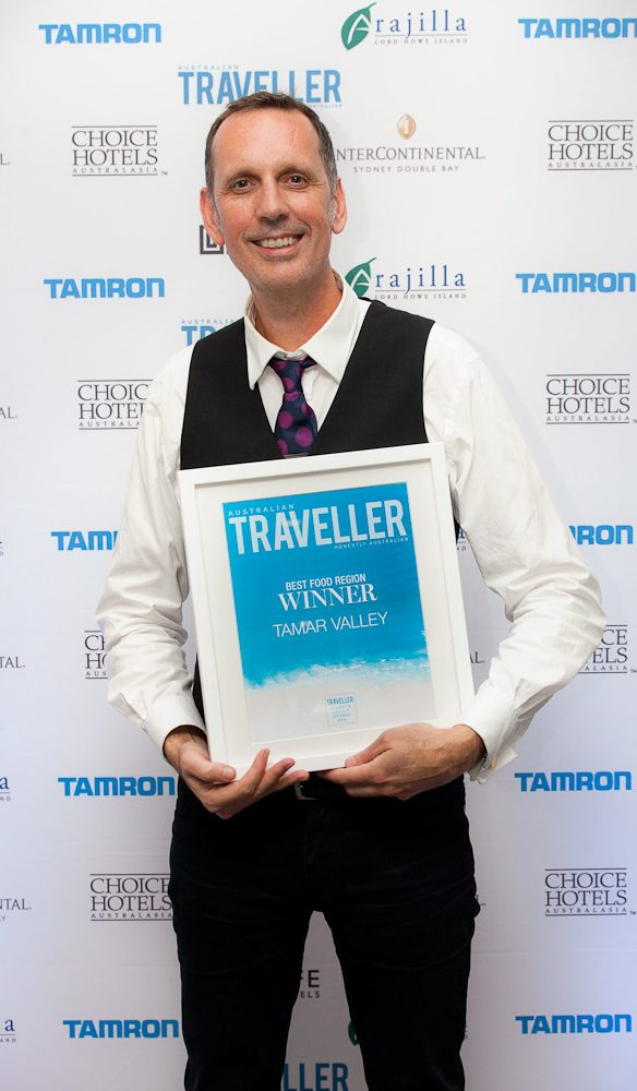 Guy Taylor Director for Marketing at Tourism Tasmania accepts the award for Best Food Region, the Tamar Valley.