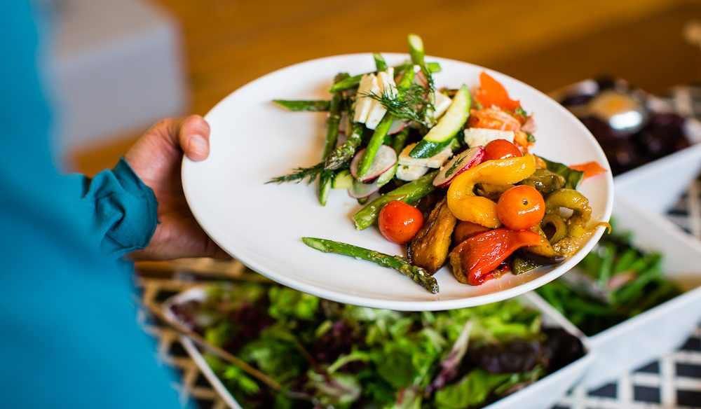always a variety of fresh salads in the lunch spread at Pinetrees lodge