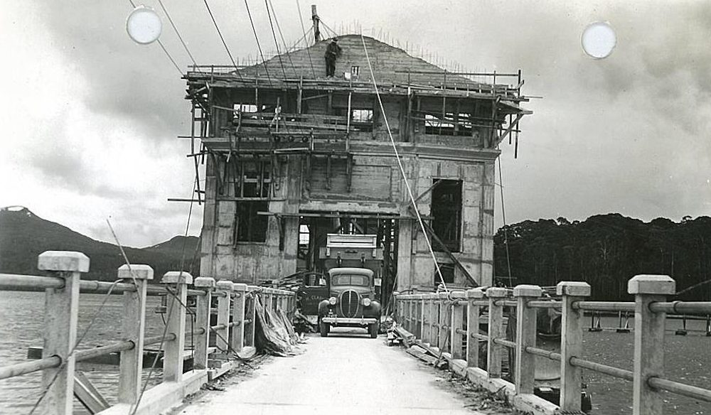 Back in the day... Pumphouse under construction; years before its development as a hotel (photo: Hydro Tasmania).