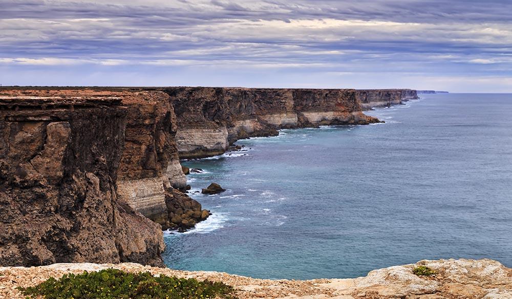 Rugged coastline of limestone plato cliffs in the Great Australian Bight