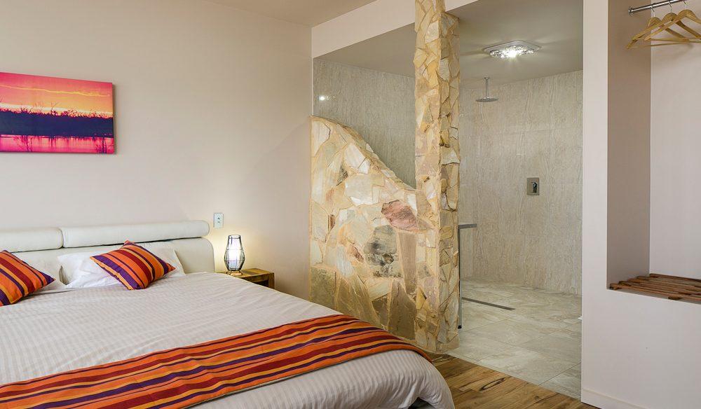 Modern comforts: Pike River Eco Lodge, Lyrup, South Australia.