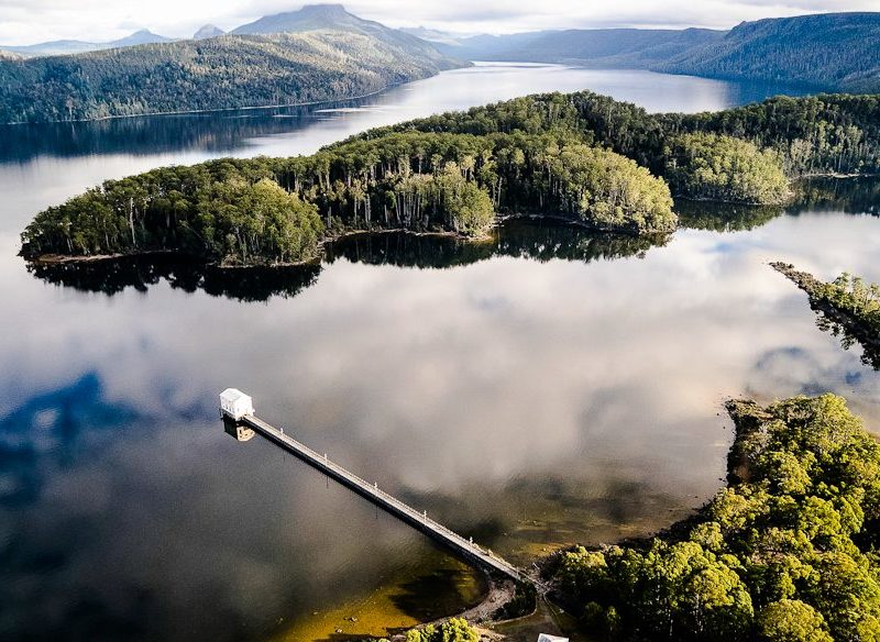 In the middle: Pumphouse Point hotel, Lake St Clair, Tasmania (photo: Stu Gibson).