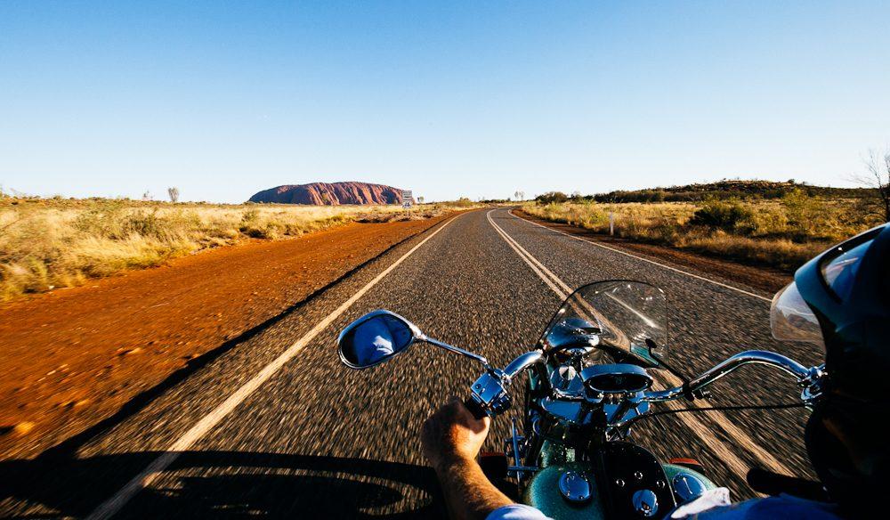 Uluru on the back of a Harley-Davidson (photo: Elisse Hassey).