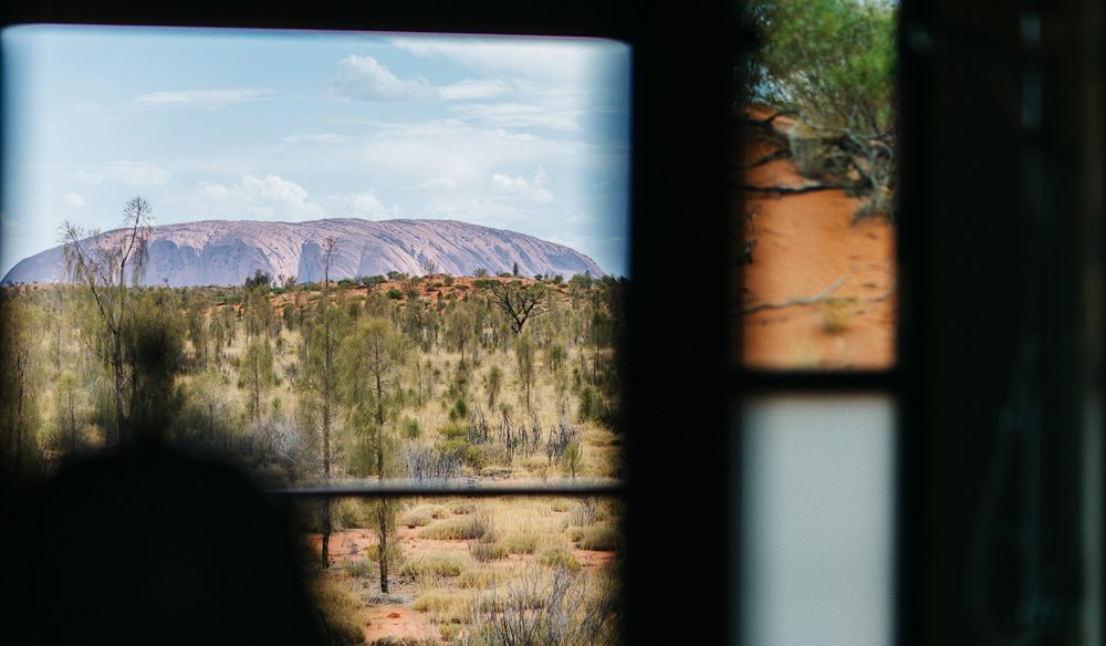 Uluru view from Longitude 131 (and the shower) (photo: Elise Hassey).