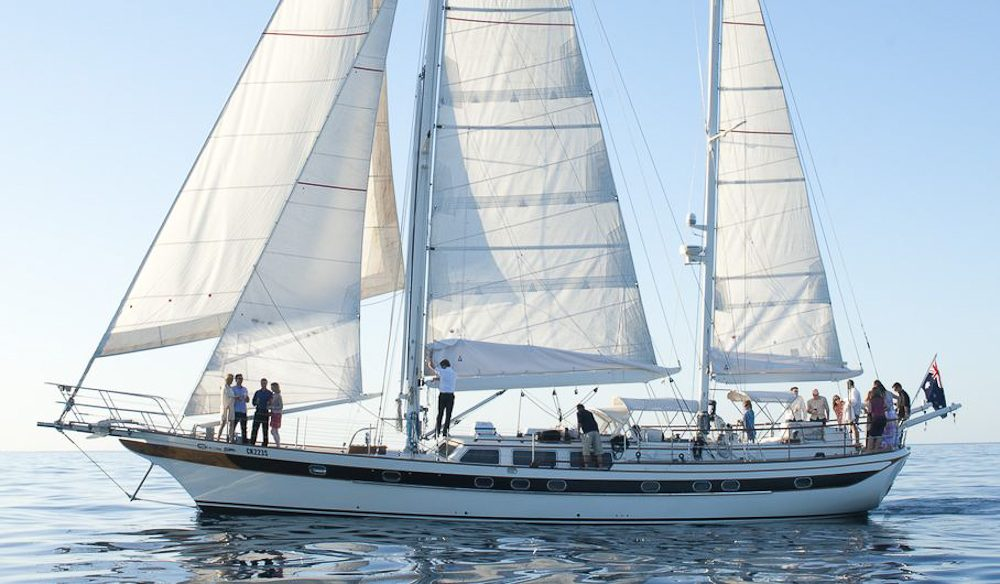 The Lady Eugenie is your bed for the The Tasmanian Walking Company's Wine Glass Sail Walk.