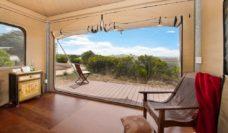 The generous deck Pebble Point glamping Great Ocean Walk