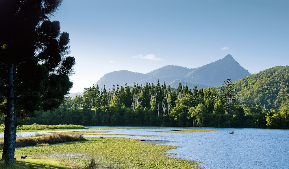 Mount Warning from Clarrie Hall Dam, Tweed Valley (photo: Legendary Pacific Coast).