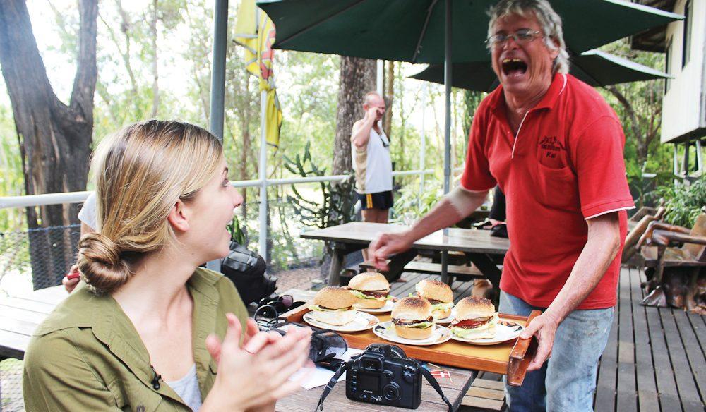 'Happy' Hansen gives a serve Goat Island