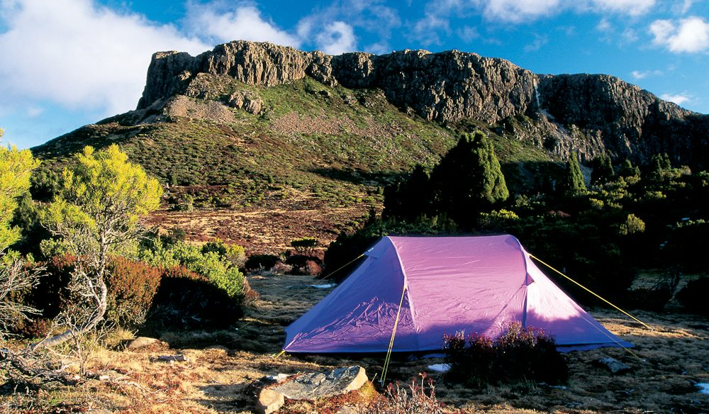 Camping in the Walls of Jerusalem National Park, Tasmania.
