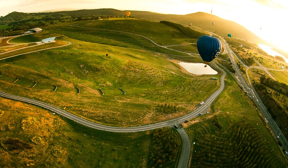 Hot air ballooning over the National Arboretum, Canberra.