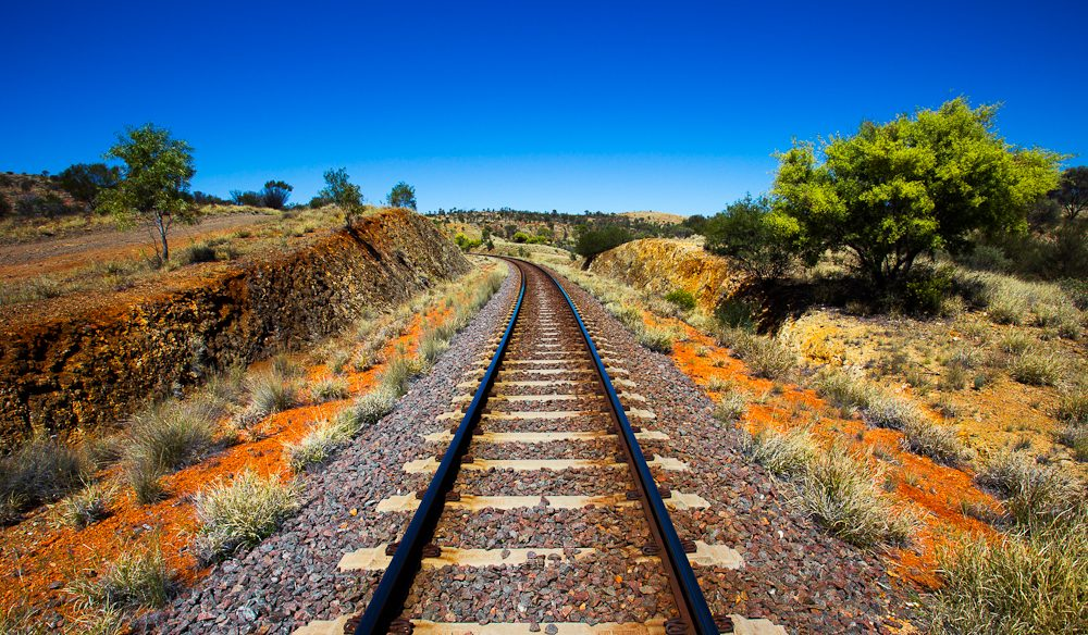 You'll step over the iconic Ghan rail tracks on the Larapinta Trail (photo: Graham Freeman).