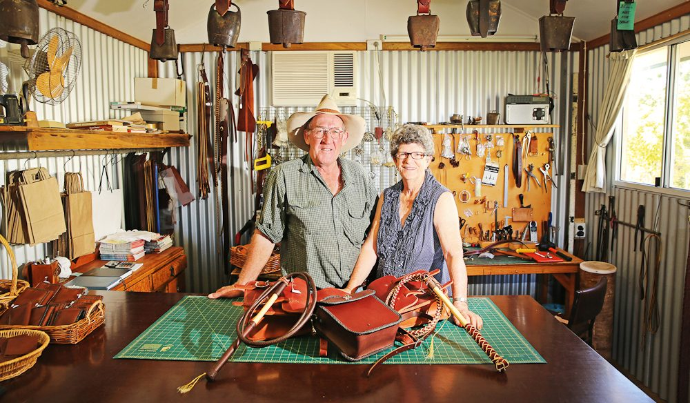 Paroo Patch leather goods producers Tom and Helen Rosenow in their Eulo workshop (photo: Nathan Dyer).
