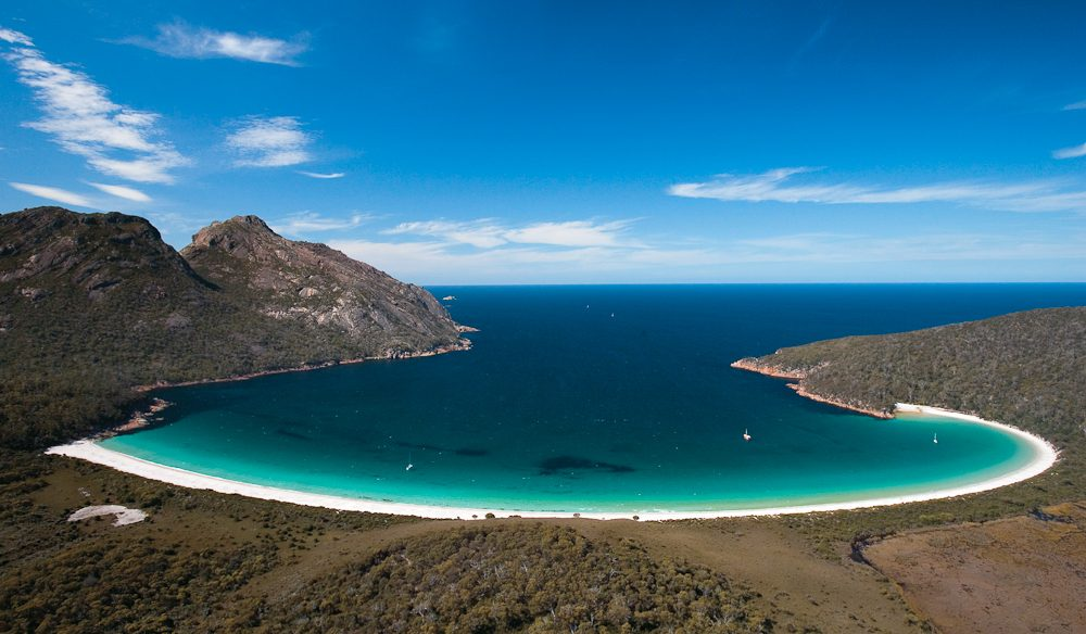 #48: Sailing into  Wineglass Bay on the Freycinet Peninsula.