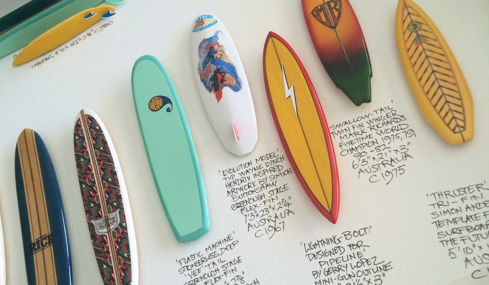 Paul Cruttenden's limited-edition framed surfboards at Gallery Salamanca.