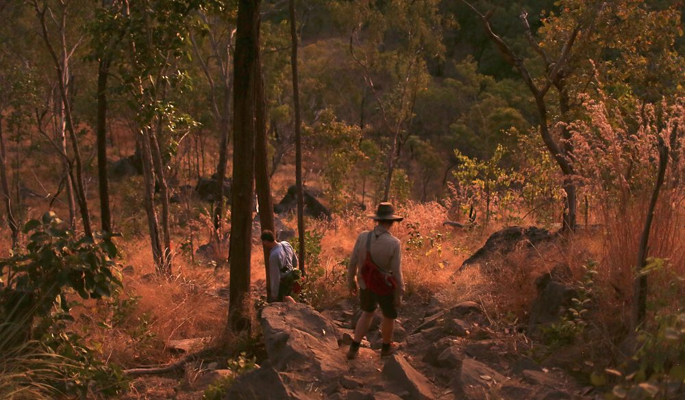 Walking back down from Gunlom Falls, Kakadu, at dusk (photo: Jennifer Pinkerton).