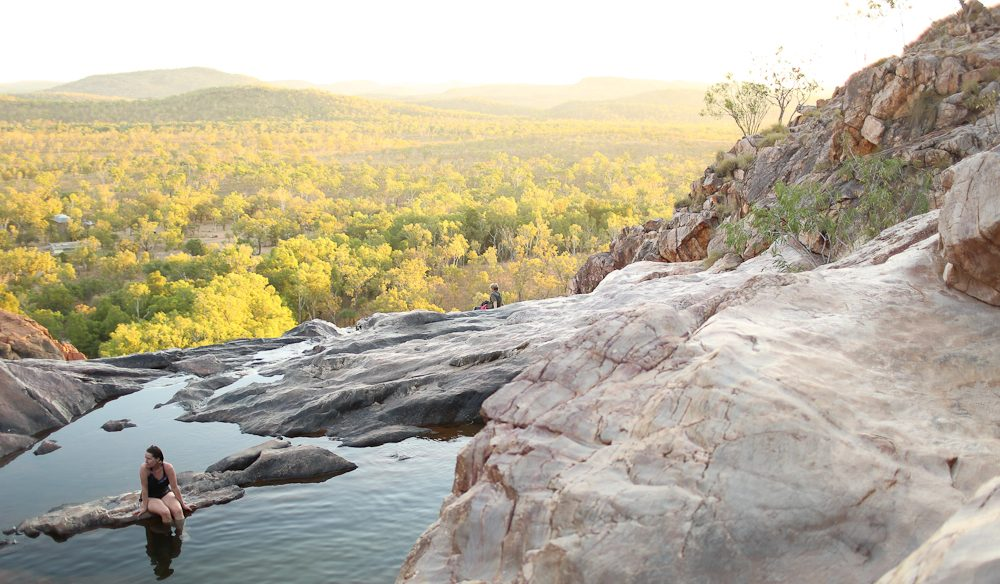 A post-walk soak at Gunlom Falls, Kakadu (photo: Jennifer Pinkerton).