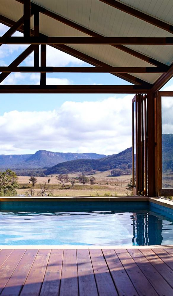 The piece de resistance, Wolgan Valley's glass-enclosed indoor heated pool.