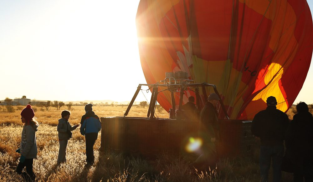 Outback touch down: Exiting the balloon basket (photo: Jennifer Pinkerton).