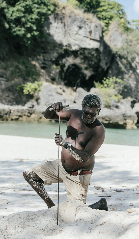 Hard-won right: Waka Mununggurr digging for turtle eggs, East Arnhem Land (photo: Elise Hassey).