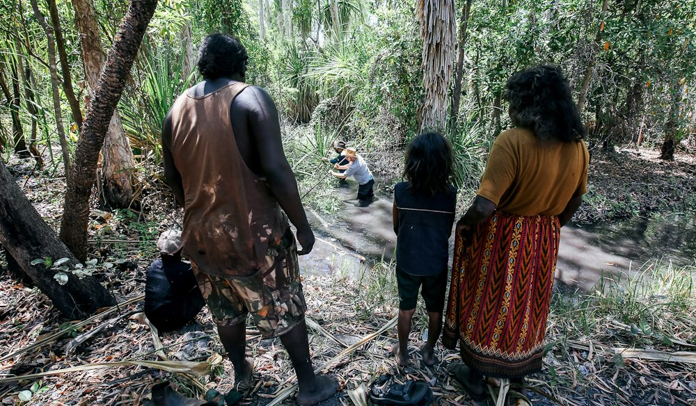 Spear fishing lesson, Bagetti Homestead, east Arnhem Land (photo: Elise Hassey).