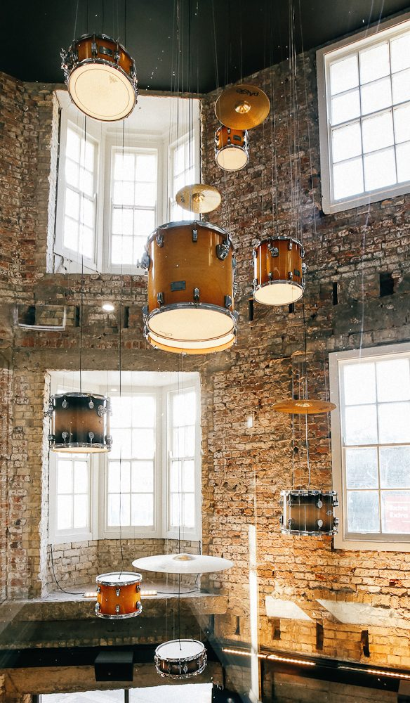 The Lucky Hotel's drumkit chandelier (photo: Elise Hassey).