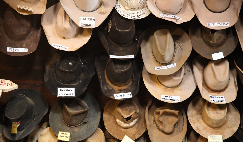 'Hard yard' hats - Birdsville Hotel, outback Queensland (photo: Steve Madgwick).