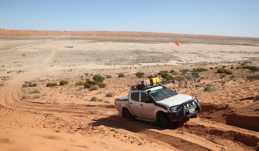 The 40-metre high Big Red dune, gateway to the Simpson Desert (and 4WDers funpark). (Photo: Steve Madgwick).