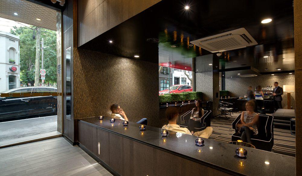 The nightclub-esque 57 Hotel foyer