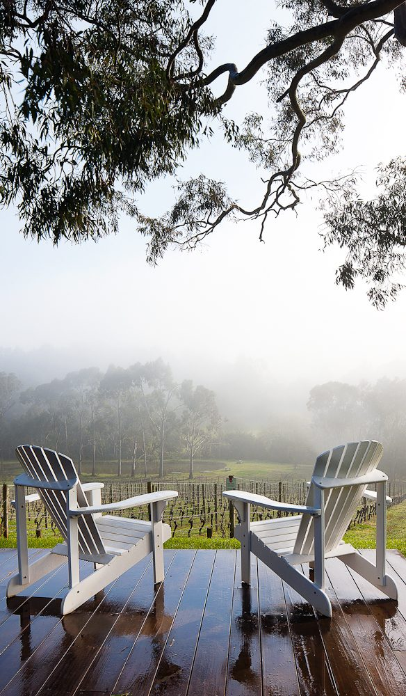 Room for two: the view from the deck at Polperro Wines.