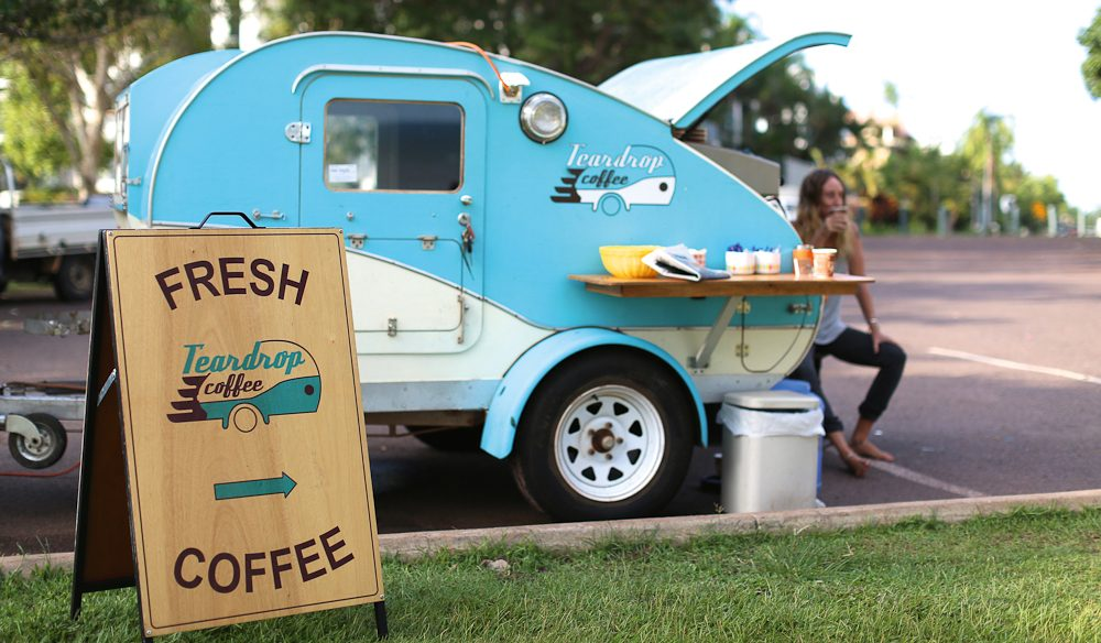 Vintage pop-up coffee, Teardrop Coffee, (various locations) Darwin.
