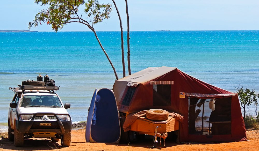 Colourful campsite Rainbow Cliffs Arnhem Land
