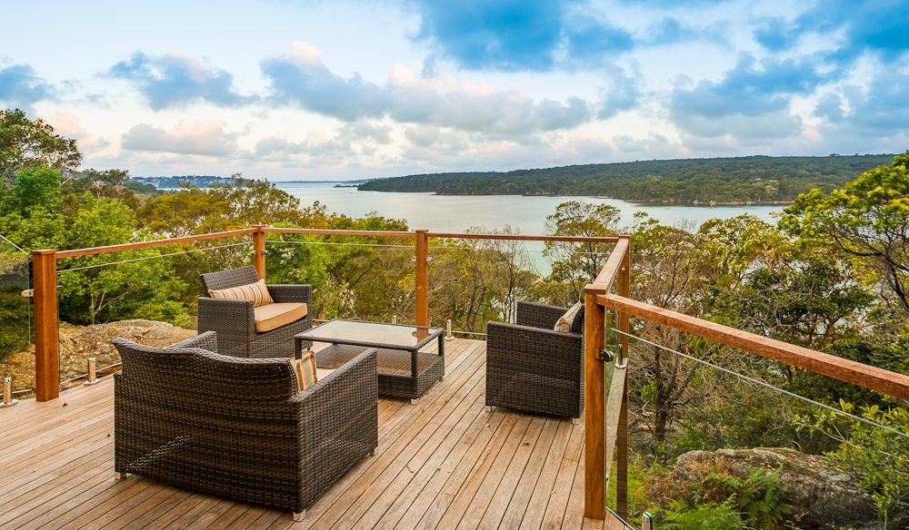 Hill Top's verandah affords spectacular views of Port Hacking River.