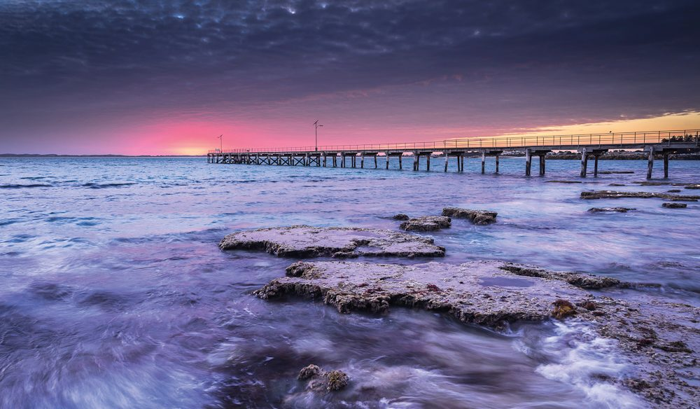A walk along the jetty in Robe is a walk out over the ocean and into spectacular sunsets.