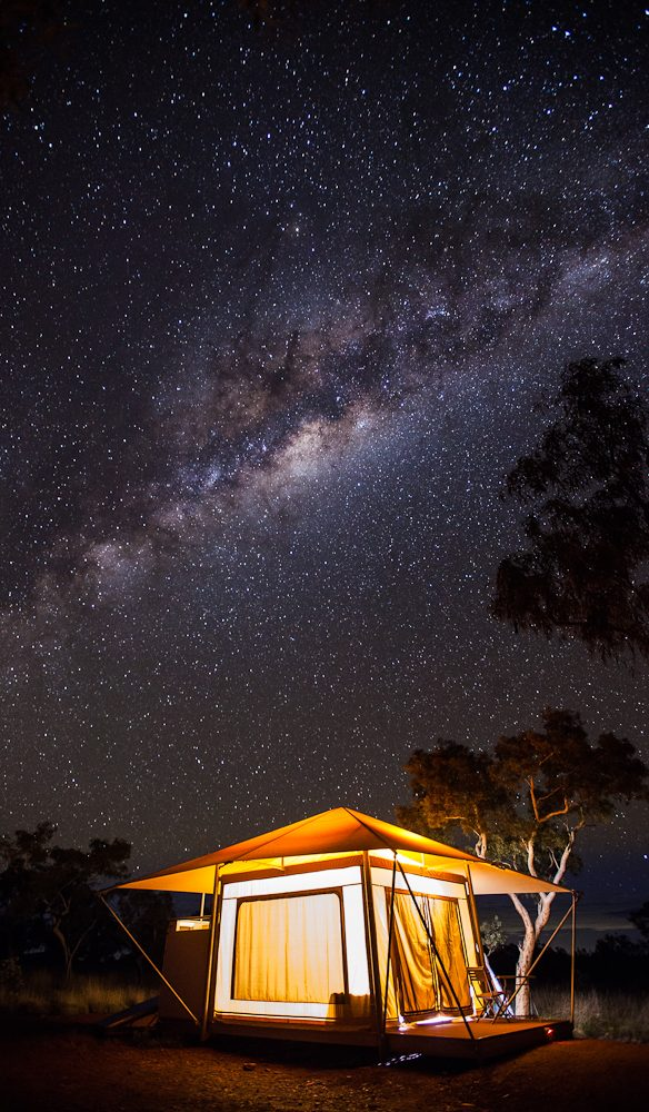 The all-natural light show, under the stars at Karijini Eco Retreat.