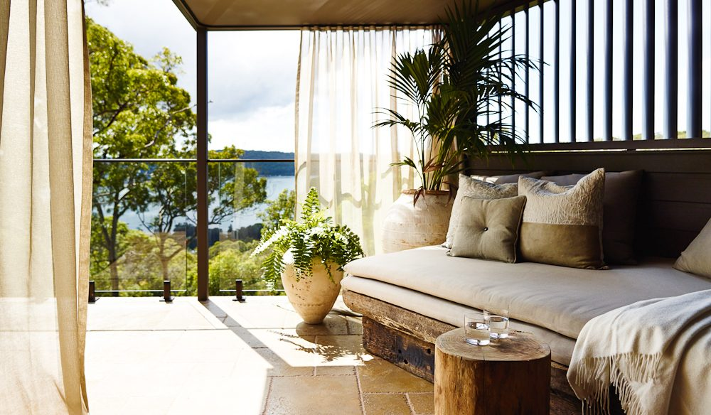 Soft and natural styling on the Treetops Pavilion's verandah.