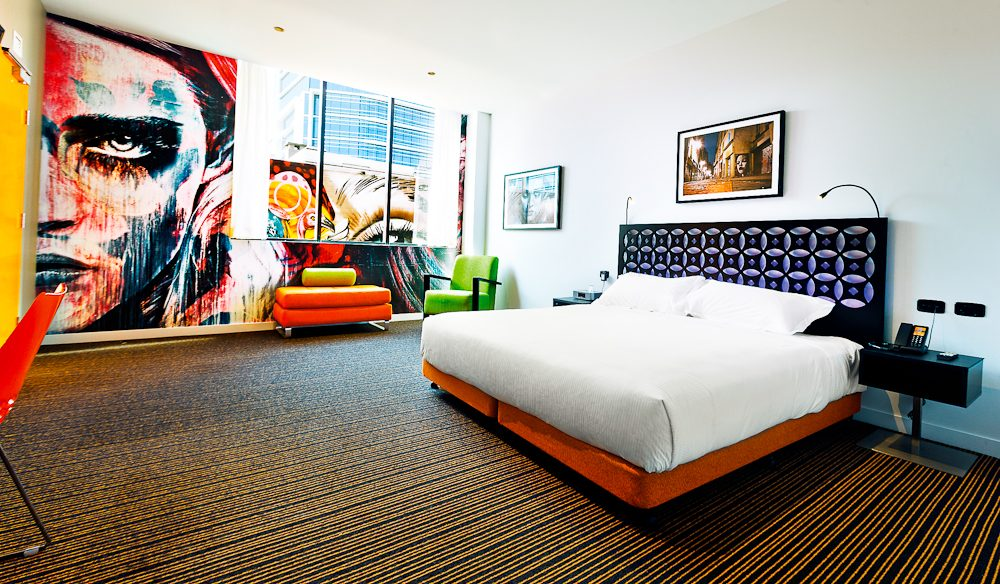 The furthest thing you can get from monochrome: king room, TRYP, Fortitude Valley.