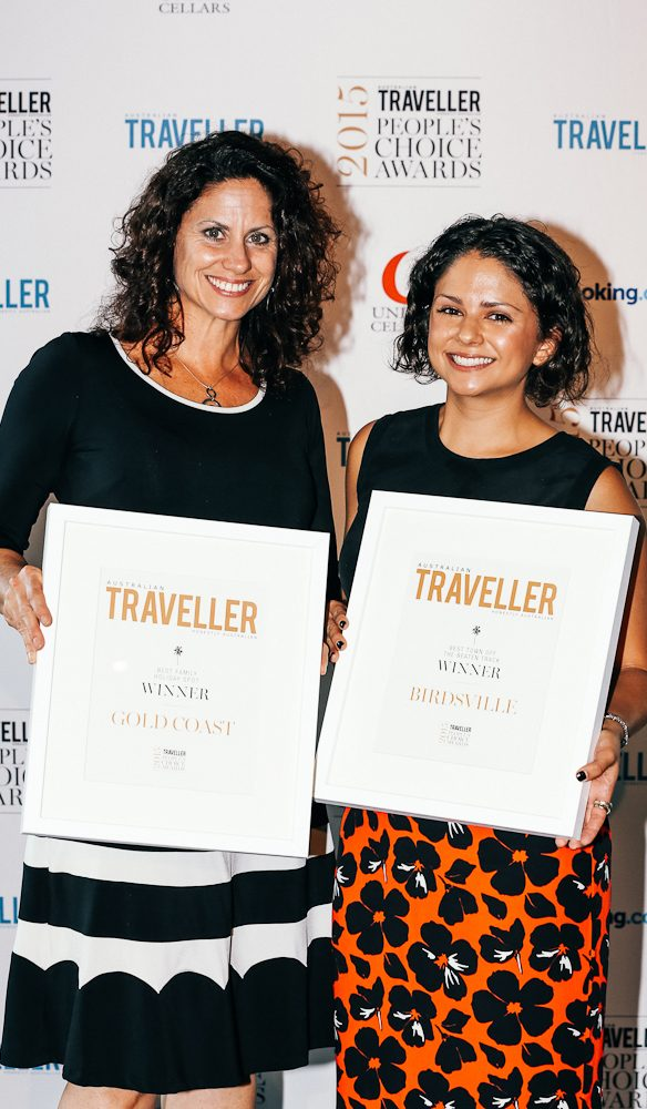 Shelley Winkel and Hannah Stratham accept the Queensland awards.