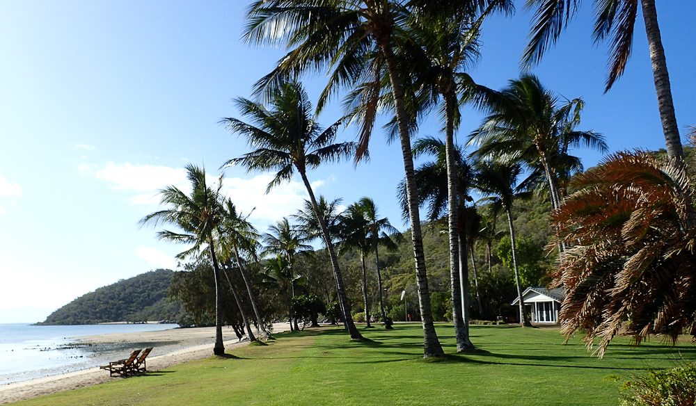 Manicured lawns beach Orpheus Island